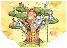 エコロジー・ツリーハウスの街のイラスト