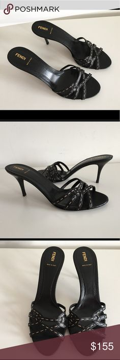 """FENDI BLACK LEATHER HIGH HEEL MULES SANDALS FENDI BLACK LEATHER HIGH HEEL MULES SANDALS, SIZE 41, COVERED HEEL 3.5"""", (THESE ARE STORE DISPLAY SHOES WHICH HAVE ONLY TRIED ON IN STORE), BRAND NEW WITHOUT BOX Fendi Shoes Mules & Clogs"""