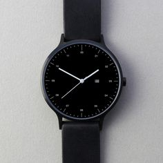 INSTRMNT 01-D BB/B — Instrmnt (225.00€) #watch #time #wrist #clock #style #lifestyle #minimal #swiss #design #black #leather