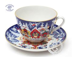 Ekaterina's Imperial Porcelain &Tea. Winter Fairy Tale Cup and Saucer
