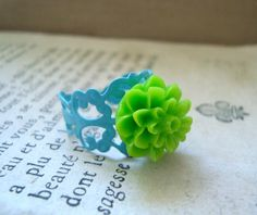 Lime Dahlia Ring With Aqua Band Green Flower by FuchsiaBloomStudio, $10.00