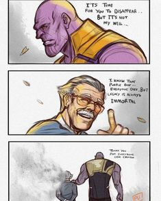 Thank you Stan Lee, you shall live in our hearts forever, you are truly an amazing person. - Romy Pinaz - Thank you Stan Lee, you shall live in our hearts forever, you are truly an amazing person. Captain Marvel, Marvel Avengers, Marvel Comics, Marvel Heroes, Thanos Marvel, Ms Marvel, Marvel Art, Marvel Jokes, Funny Marvel Memes