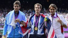 Left to right: Argentina's Juan Martin del Potro (Bronze), Great Britain's Andy Murray (Gold) & Switzerland's Roger Federer (Silver) - 2012 Olympic Men's Singles Tennis, All England Lawn Tennis and Croquet Club, Wimbledon, London, England
