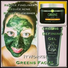 Green It Works Facial Greens + Defining Gel reduces acne, reduces fine lines, reduces blemishes & revitalizes skin go to KaylaWrapper.myitworks.com