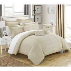 Chic Home 8-piece Tussard Oversized Beige Comforter Set