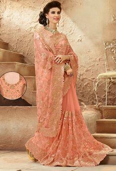 Light Peach Net #Designer #Saree #nikvik  #usa #designer #australia #canada #freeshipping #wedding