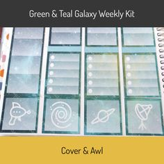 """Green and Teal Galaxy Weekly Sticker Kit for Erin Condren Life Planners. Weekly sticker kits are printed on white permanent sticker paper. washi strips headers full boxes half boxes check lists ⅜"""" boxes rescheduled, canceled, postpon"""