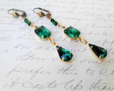 May Birthstone Vintage Emerald Earrings