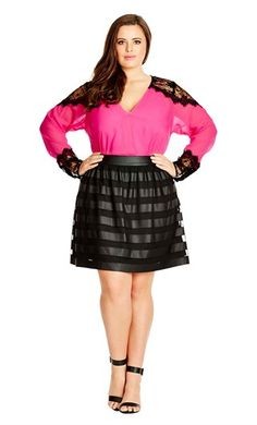 SHEER STRIPE SKIRT Plus Size Lace Insert Top #UNIQUE_WOMENS_FASHION