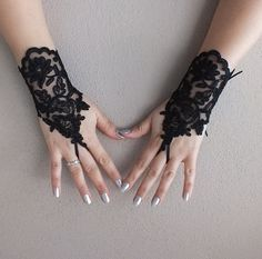 Black Wedding gloves french lace gloves bridal by geranum on Etsy Wedding Gloves, Wedding Garter Set, Lace Gloves, Fingerless Gloves, Wedding Show, Bare Foot Sandals, French Lace, Eye Make Up, Wedding Vendors