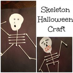 Skeleton Qtip Halloween Crafts - super simple and easy. Qtips, glue and construction paper. http://www.classymommy.com #Halloween #Halloweencrafts