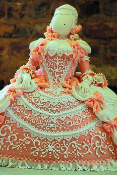 "The detail!  Marie Antoinette Cake. A new wrinkle to the concept of ""let them eat cake."" You would have to cut off the head first, of course. Ha."