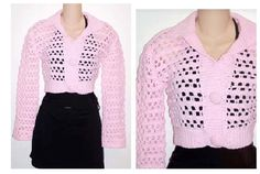 Pink Button Cardigan Shrug  Crochet Sweater Pattern pdf on Etsy, $5.00