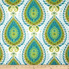 Tempo Medallion Teardrop Shiraz Blend Mediterranean Fabric