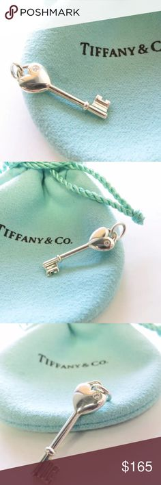 Tiffany & Co Sterling Silver Heart Key Charm Particulars: Size & Measurements: The key pendant is 1.25 inches (including bail). Metal & Hallmarks: Tiffany & Co. / 925   If you have any questions, please feel free to E-Mail me at any time. Tiffany & Co. Jewelry