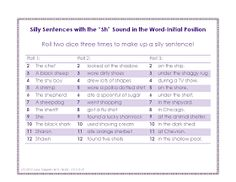 """Ms. Lane's SLP Materials: Articulation: Silly Sentences with the """"Sh"""" Sound"""