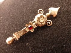 10k Rolled Gold Scepter Brooch with Rose Cut by GliterzbySal