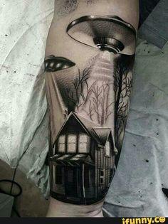 Love this idea #aliens#tattoo#blackandwhite