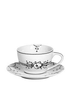 """Miss Blackbirdy Cappuccino Cup & Saucer, 6½"""" x 4-1/8"""" 11 oz. $22.48 at freefrance2015 on ebay, 8/27/15"""