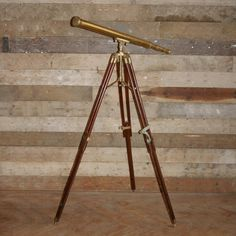 Antique brass telescope by Ross of London on original mahogany & brass stand at thearchitecturalforum.com