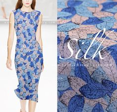 Items similar to Blue Leaves silk crepe fabric by the yard - achat crepe de soie au metre on Etsy Crepe Fabric, Silk Crepe, Blue Fabric, Blue Leaves, Blue Fashion, Blue Dresses, Yard, Trending Outfits, Unique Jewelry