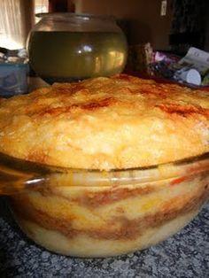 Pap & mince lasagne (pap = mealie meal)