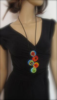 Vibrant Hand-Made Fused Glass Long Necklace FREE SHIPPING. $40.00, via Etsy.