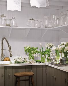 Flower Arranging Space in Laundry Room