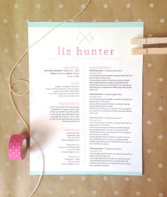 customized resume design / the sarah by 23and9Creative on Etsy