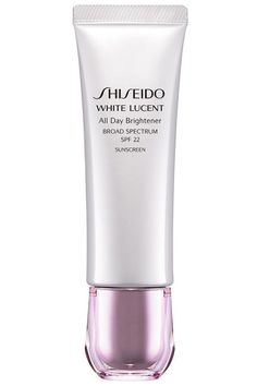 """""""Keep skin hydrated with a sheer moisturizer that has light reflecting properties. This is the secret to keeping your skin moist and glowy on its own,"""" says Carmindy. This SPF moisturizer has timed-release brightening capsules that work throughout the day to keep your skin looking awake and over time to erase dark spots. Shiseido White Lucent All Day Brightener, $57, shiseido.com."""