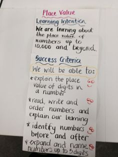 Place Value Learning Intentions and Success Criteria. By Kathryn Buttigieg Yr Student Self Assessment, Assessment For Learning, Learning Targets, Learning Goals, Formative Assessment, Learning Objectives, Teaching Strategies, Student Learning, Math Resources