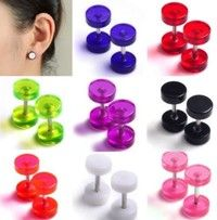 Wish | 16pcs Mixed color Fake Gauge Kit Acrylic Plugs Ear Studs Cheater Body Pierceings