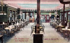 The Shanghai Cafe, once located at 431 1/2 South Spring Street, was a popular Chinese food restaurant when it opened around October of 1905. The proprietor was G.S. Ung, who boasted that its menu had 500 Chinese items, including wines.  The popular cafe ran into trouble after four years of operation, losing its liquor license in 1909 for selling alcohol to adolescents under 18 years old. (Bizarre Los Angeles)