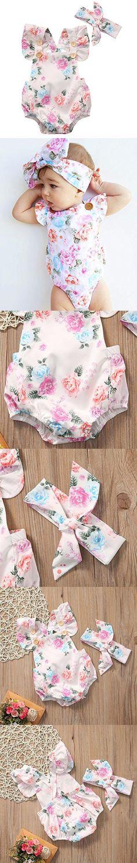 GRNSHTS Baby Girls Full Flower Print Buttons Ruffles Romper Bodysuit With Headband (80cm / 6-12 Month, Pink)