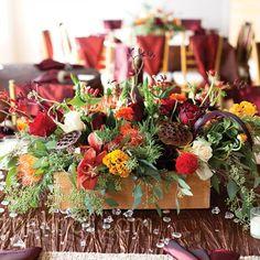 Real Weddings - A Rustic Autumn Wedding in San Antonio, TX - Floral Autumn Centerpieces