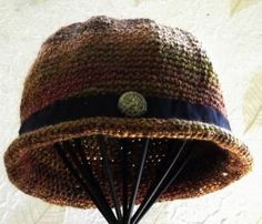 Crochet  Womans Hat  Handmade  Bowler Style  Retro by SophiesHats
