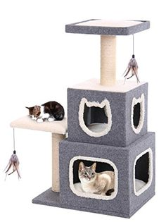 Penn Plax Two Story Cat Condo with Scratching Post and Perches - Cat store galore Cat Tree Condo, Cat Condo, Cat Cube, Cat Store, Cat Towers, Unique Cats, Pet Furniture, Scratching Post, Buy A Cat