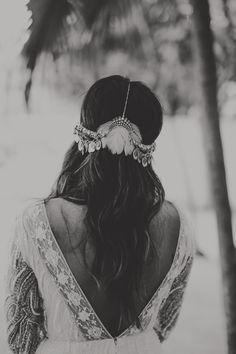 Feather headpiece. Bridal Bride Portrait. Bohemian Gypsy Disco Beach Wedding in Tulum Mexico. Destination wedding photographer Chellise Michael Photography. Location: Casa Carolina & Gitano Tulum