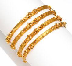 A group of four twenty-two karat gold bangle bracelets gross weight approximately: grams; Plain Gold Bangles, Gold Bangles For Women, Gold Bangles Design, Gold Earrings Designs, Gold Jewellery Design, Gold Wedding Jewelry, Gold Jewelry Simple, Gold Bangle Bracelet, Bangle Set