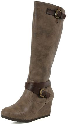 City Classified Women's Zocha Faux Leather Knee High Wedge Dress Boots -- Click image to review more details.