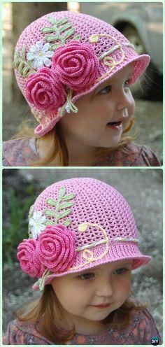 Crochet Summer Cloche Sun Hat Free Pattern - Crochet Girls Sun Hat Free Patterns