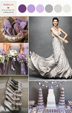 grey and purple wedding colour palette , it could be idea used for summer and autumn wedding