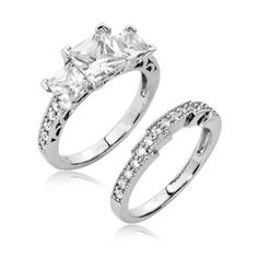 Sterling Silver Engagement Wedding Ring Set Princess Cut Cubic Zirconia CZ 3 ct.tw - Nickel Free [Size 7]