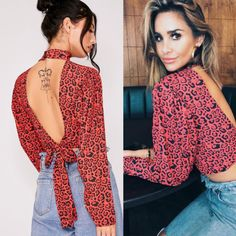 Womens-Summer-Casual-Tie-Knot-Floral-Sleeve-Deep-V-Neck-Crop-Tops-Blouse-US 5483e0a40