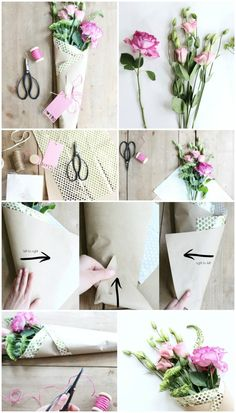 diy paper wrapped bouquet