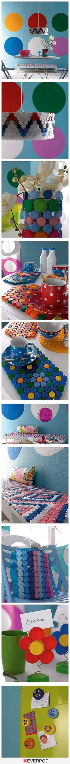 lids and caps from bottles, milk jugs, juice containers, etc. can make awesome DIY projects