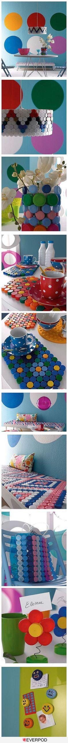 Manualidades tapones de plástico: salvamanteles, lámparas y jarrones. Ideas para reutilizar los tapones de las botellas de plásticas para decorar el hogar.