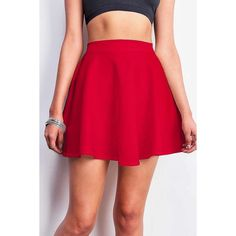 Flared Scuba Skirt (20 CAD) ❤ liked on Polyvore featuring skirts, knee length flared skirts, red flare skirt, red stretch skirt, circle skirt and elastic waist circle skirt