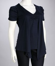 Take a look at this Delirious Apparel Navy Plus-Size V-Neck Layered Top by Flair for Fashion: Plus-Size Apparel on #zulily today!