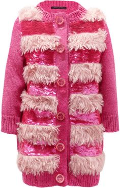 """MARC JACOBS """"50s"""" Faux Fur and Sequin  embellished Cardigan"""
